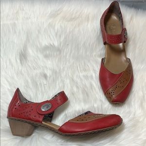 Rieker Red Leather Ankle Strap Heels Size 42/11